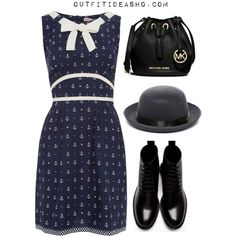 Cute dress~ Not a fan of Docs with dresses but the dress and bag are cute. I'm also not a hat person.