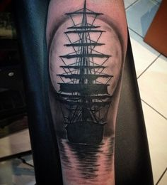 Boat with moon tattoo - 100 Boat Tattoo Designs  <3 <3