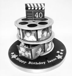 Original Pinner said: Stacked film cake for birthday. Birthday Cakes For Men, 40th Birthday Parties, Ideas Decoracion Cumpleaños, Film Cake, Cake Frame, Movie Cakes, Dad Cake, Fancy Cakes, Cake Creations