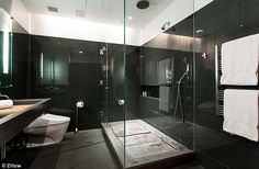 Spa like: The master bathroom definitely has a sleek, modern feel to it...