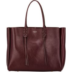 Lanvin Women's Tassel-Handle Extra-Large Shopper ($699) ❤ liked on Polyvore featuring bags, handbags, tote bags, borse, burgundy, red leather handbags, shopping tote, red leather tote bag, leather tote bags and burgundy leather tote