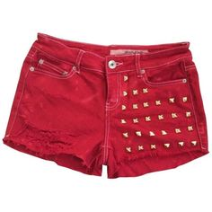Women's High Waisted Red Denim Studded Stud Wrangler Frayed Cut Off... ($76) ❤ liked on Polyvore featuring shorts, bottoms, pants, high waisted cut off shorts, wrangler shorts, high rise shorts, highwaisted denim shorts and red denim shorts
