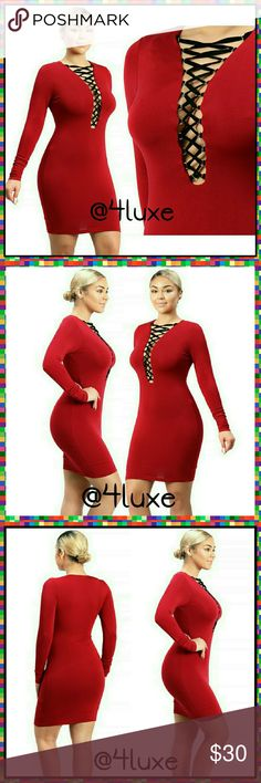 DRESS 💜 Red Long Sleeve Bodycon Lace Up 😍👗🎉 These confidence assuring dresses will make every jaw in the room drop! The phenomenal thing about bodycon dresses are they are flattering for all body types! They accentuate all your God given curves and give you the instant hourglass shape!   🎁Soft Inside Lining 🎁Long Sleeve  🎁Lace Up Front 🎁Velvet Laces 🎁95% Rayon  🎁5% Spandex  💡NOW OFFERING💡  BUY 2 ITEMS GET 20% OFF  3=30% OFF 4=40% OFF  😻FREE SHIPPING ON ORDERS $50 OR MORE😻 WTD…