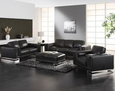 Cozy Black Leather Sofas For Elegant Living Room : Stylish Single TwoSeats  And ThreeSeats Black Leather Sofa Design For Elegant Look Black And White  Living ...