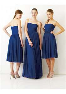 I like the idea of one longer and the rest being a little shorter for bridesmaid dresses.