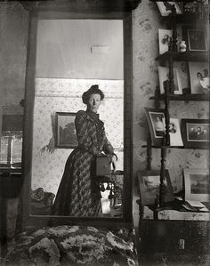 "Quite possibly the world's oldest ""selfie,"" taken by this Edwardian woman in 1900 with a Kodak Brownie box camera."