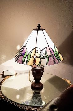 Tiffany lamp custom design with Initials and Campanula flower
