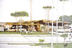 perspective drawing of Eichler Home for Primewood Tract, 1969 Los Altos, CA Perspective Drawing, Glass Boxes, Cool Sketches, Architectural Drawings, Mid Century House, Design Process, Modern Architecture, Mid-century Modern, Fair Grounds