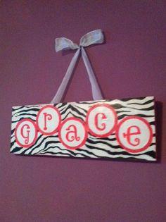 Children's Zebra Print Wall Art. $15.00, via Etsy.
