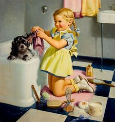 "Girl: ""Now to get your ears squeaky clean."" Dog: ""Lord help me."""