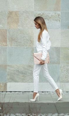 All white with a a bit of blush... Try also: gold, red, hot pink, or navy for this look