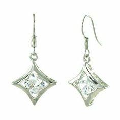 Simple White CZ Centered Diamond Shaped Square Dangle Earrings le Jane. $13.00