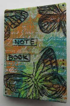 Hi Everyone I covered a plain mini note book CM), with fabric that I painted using stamps and Dylusions paints. Art Journal Inspiration, Mini Books, Mini Albums, Notebooks, Stamping, Mixed Media, Arts And Crafts, Crafting, Notes