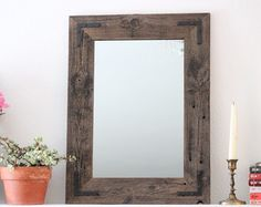 30x36 Large Mirror Reclaimed Wood Framed Mirror by HurdandHoney