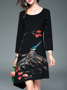 Shop Midi Dresses - Black Long Sleeve Cotton Floral-print Asymmetrical Midi Dress online. Discover unique designers fashion at StyleWe.com.
