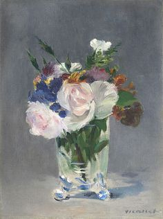 "Flowers in a Crystal Vase, Edouard Manet, ca. 1882, p.754. (""One -- flowers in a glass -- I dimly recognized as a Manet."" One of a few flowers-in-glasses by Manet.)"