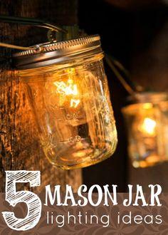 Create some dynamic lighting. Use mason jars! Try these 5 Mason Jar Lighting Ideas via Tipsaholic.com #masonjars #jars #lighting