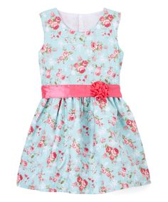 Take a look at this Cottonee Light Blue & Pink Floral Bow A-Line Dress - Toddler & Girls today!