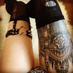 Gothic styled building - upper thigh piece.