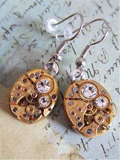 Steampunk Earrings =Steampunk ear gear - Ice - Steampunk jewelry made with real vintage recycled watch parts