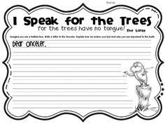 The lorax persuasive writing for earth week 2nd Grade Writing, Kindergarten Writing, Literacy, Teaching Writing, Kindergarten Classroom, Persuasive Writing, Essay Writing, Writing Prompts, Writing Lessons