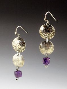 MicheleGradyDesigns, Sterling Silver Disc Earrings, Amethyst Earrings