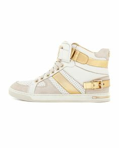 Michael Kors Fulton Metallic High-Top Sneaker- need to get me some high tops in the US Zapatos Michael Kors, Michael Kors Sneakers, High Top Sneakers, New Sneakers, Stilettos, Cute Shoes, Me Too Shoes, High Tops, Christian Louboutin