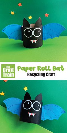 Paper roll bat craft for kids with printable template. Make this adorable little friendly bat from a recycled paper roll for Halloween! Animal Crafts For Kids, Crafts For Kids To Make, New Crafts, Fall Crafts, Holiday Crafts, Kids Crafts, Halloween Paper Crafts, Halloween Fun, Bat Template