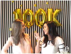 Festa de 100K – decor preto and branco and gold