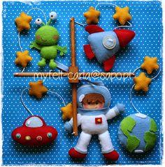 Felt Baby Mobile UFOs astronaut rocket planet earth by myfelt