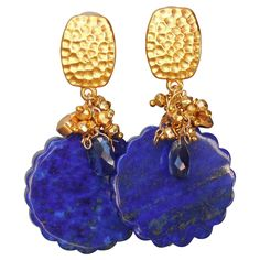 Lapis Lazuli and Kyanite Clip Earrings from gemlynn on Ruby Lane