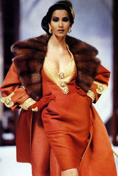 Love the burnt orange and gold and fur accents! Gurmit Kaur, Christian Dior Haute Couture by Gianfranco Ferre
