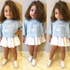 Toddler Kids Baby Girl Long Sleeve Tops Pullover+Tutu Skirt Dress Outfit US - Kids' Clothing Baby Fashion Clothes - February 22 2019 at Little Boy Fashion Trends Info: 7197742337 Look at this Cool stylish kids clothes Graphic long sleeved tee & skirt se Little Girl Outfits, Kids Outfits Girls, Little Girl Fashion, Toddler Girl Outfits, Toddler Fashion, Boy Fashion, Kids Girls, Baby Kids, Fashion Clothes