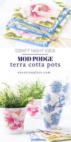 Clay Pot Crafts, Flower Pot Crafts, Crafts To Make, Cute Crafts, Easy Crafts, Crafts For Kids, Paper Crafts, Flower Pots, Diy Mod Podge