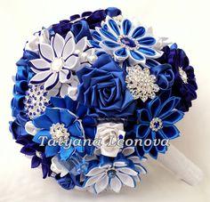 Brooch bouquet Fabric Bouquet Wedding bouquet Cornflower by LIKKO