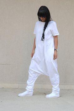 white jumpsuit woman loose jumpsuit plus size jumpsuit Low