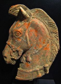 fabionardini:  Etruscan terracotta head of a horse Circa 300 BC. Posted by Paulo Vergueiro