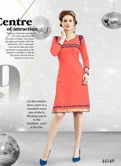 Readymade #Orange #Cotton #Printed #Kurti #nikvik  #usa #designer #australia #canada #freeshipping #dress #tunic
