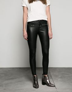 imitation leather biker trousers. Discover this and many more items in Bershka with new products every week