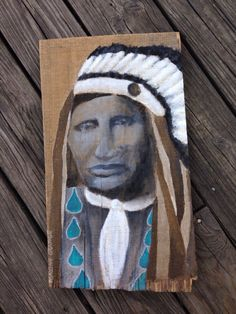 PACO American Indian painting on wood by maxineorange on Etsy (Art & Collectibles, Painting, Acrylic, gulf place, Santa Rosa beach, destin FL, 30a artists, paco, chief, maxine orange, acrylic, portrait, American Indian, distressed, wood, Indian)