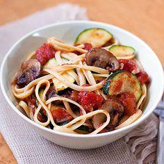 Fresh garden vegetables and pasta