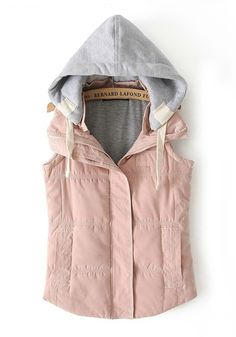 Love Pink + Grey! Pink and Grey Plain Hooded Band Collar Cotton Blend Vest #Pink #Grey #Pink_and_Grey #Fall #Winter #Vest #Fashion