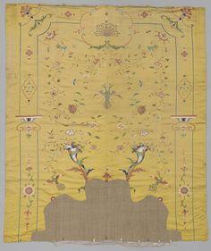 Geel zijden achterwand van een bedgarnituur, c. 1720 - c. 1740