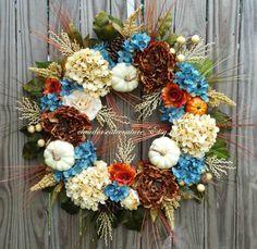 Wreath,Fall Wreath,Hydrangea Wreath ,Brown wreath,Fall Monogram Wreath,Rustic Wreath,Front Door Wreath,Grapevine Wreath,Wreath for Door