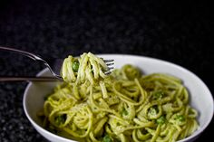 linguini with pea pesto by smitten, via Flickr