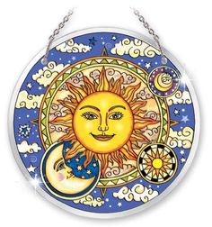 "Amia Beveled Glass Circle Suncatcher Celestial Design, 6-1/2-Inch, Large by Amia. $23.50. Comes in a gift box. Beautifully detailed, handpainted. Includes chain for hanging. The mystical mysteries of the sun, moon and stars are illustrated in this unique celestial design.  Amia emphasizes, in hand-painted glass, the positive - ""the sun will come out tomorrow"" - with bold bright golden rays and the perfect harmony of the light of moon."