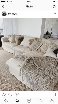 White big sectional couch. Cozy