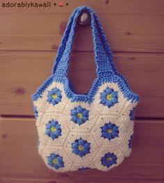 Flower Hexagon Bag free crochet pattern