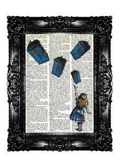 Alice in Wonderland & Flying Tardis Upcycled Book Dictionary Art Print Art Prints Vintage Book Print Vintage Book Page Buy 3 get 4th free