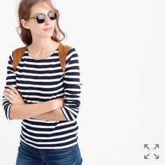 Jcrew striped suede shoulder tee shirt New with tag.  Runs small, would fit size xs.  Price firm unless bundled.  No trades. J. Crew Tops Tees - Long Sleeve